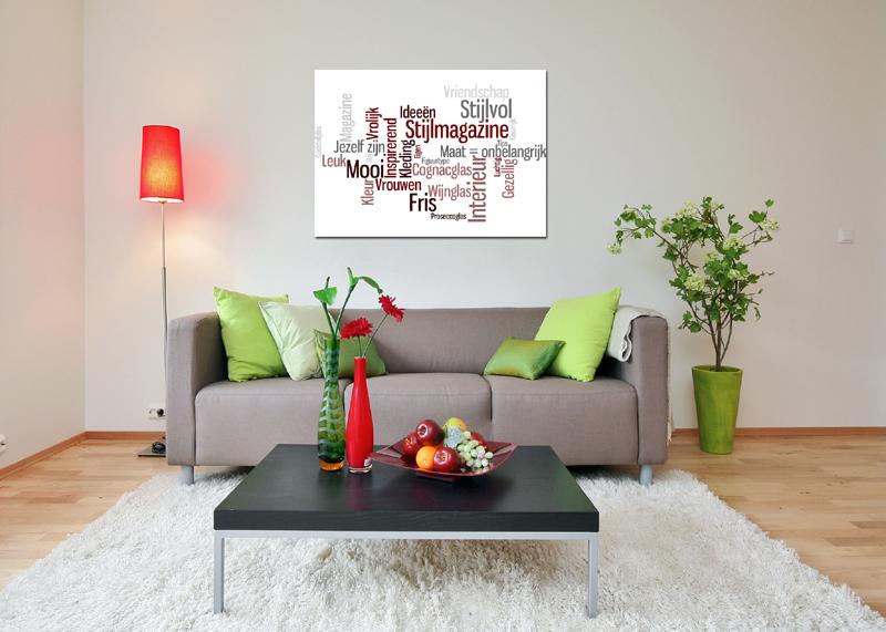 Canvas tekst woonkamer
